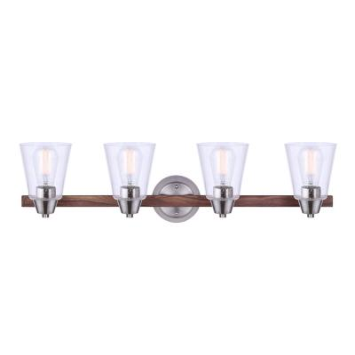 Dex 32 in. 4-Light Brushed Nickel and Faux Wood Vanity Light with Seeded Glass Shades
