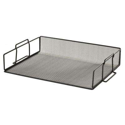 14.5 in. W x 10 in. D x 3 in. H Wire Mesh Single Stacking Document Tray, Black