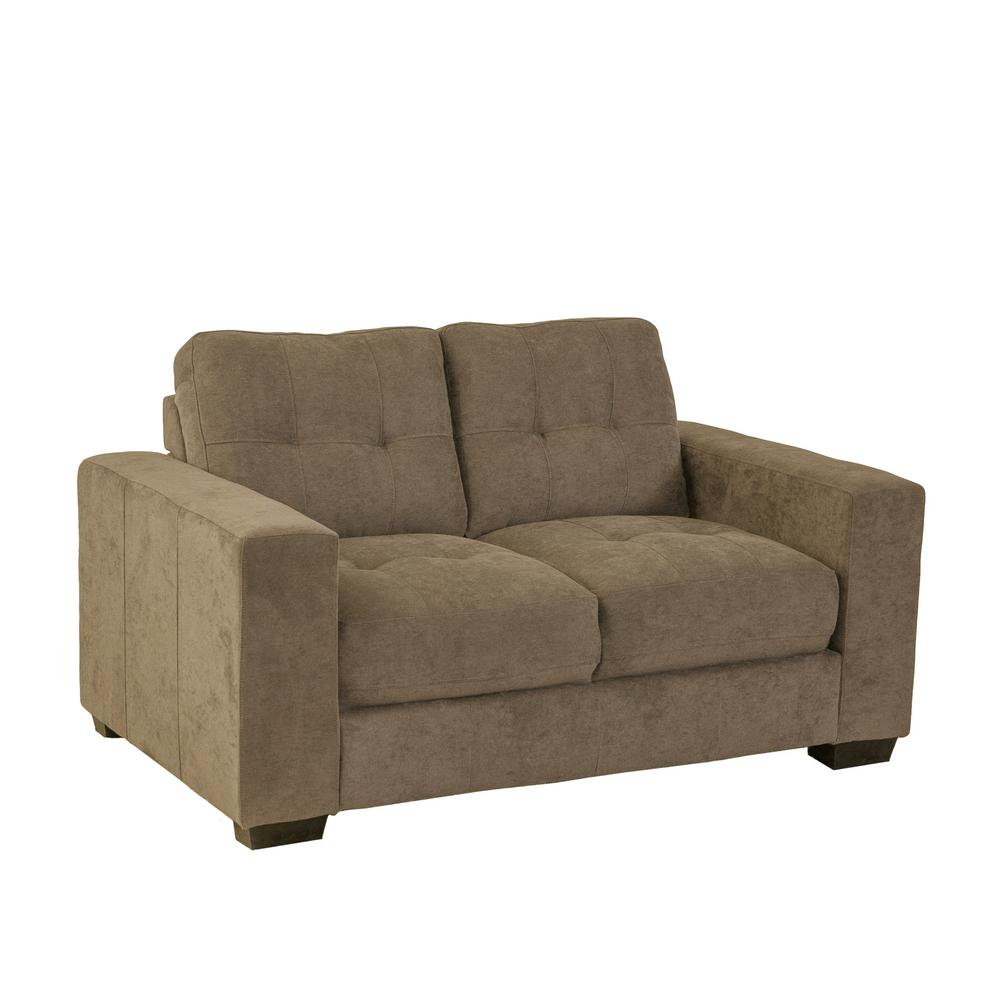Corliving Club Tufted Brown Chenille Fabric Loveseat