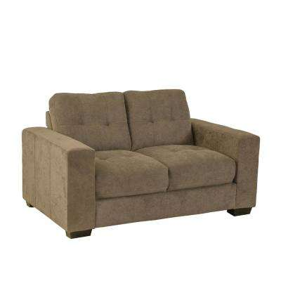 Club Tufted Brown Chenille Fabric Loveseat