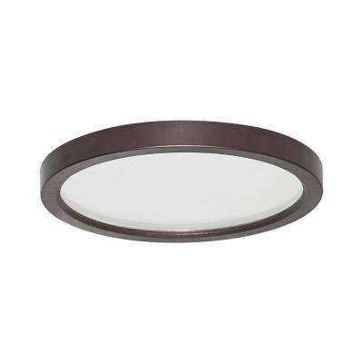 Round Slim Disk Length 5.5 in Bronze Recessed Integrated LED Trim Kit Fixture 3000K Warm White 1-Light New construction