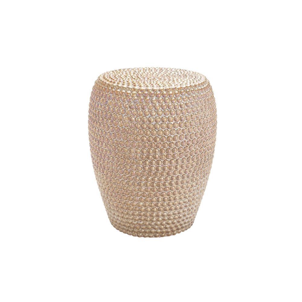 Gold Beaded Ceramic Round Stool