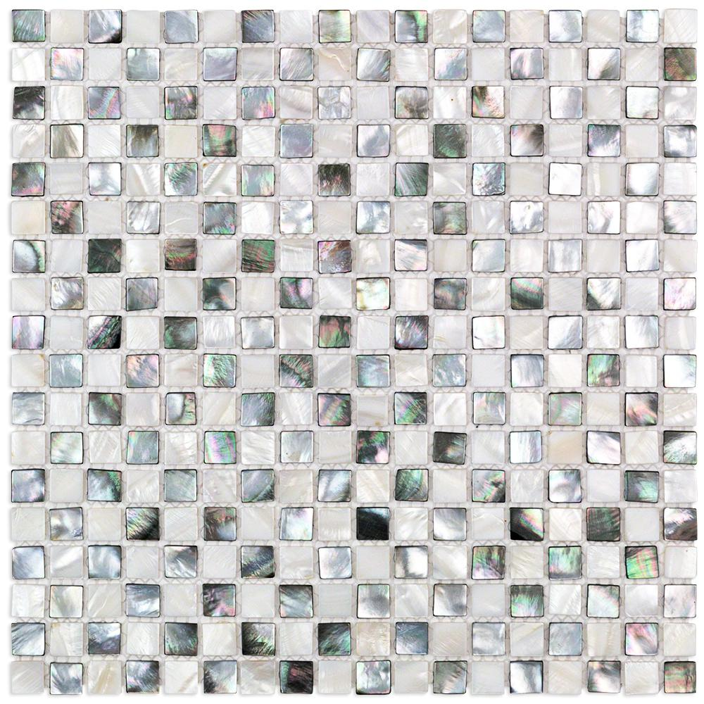 Splashback Tile Coule Black And White Checkerboard Pearl Shell Mosaic 3 In X