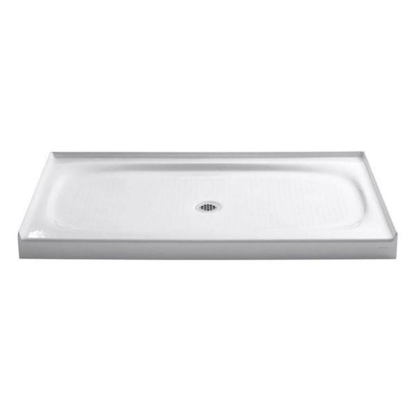 Salient 60 in. x 36 in. Cast Iron Single Threshold Shower Base with Center Drain in White