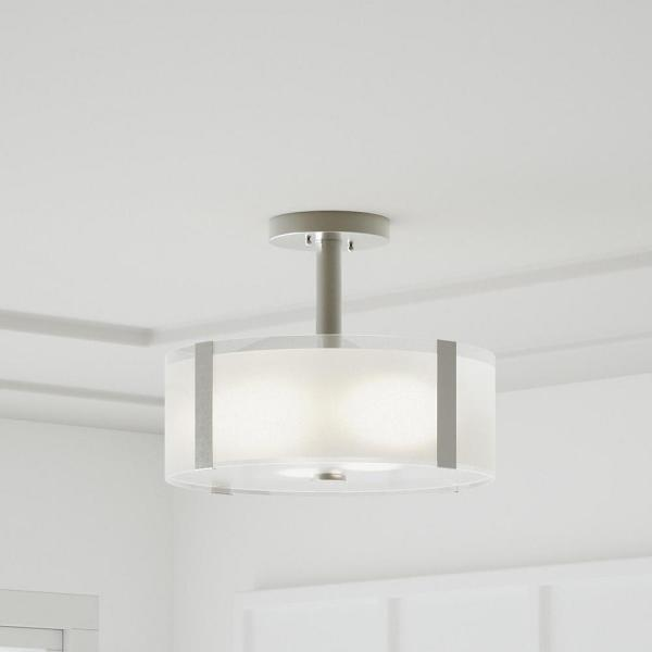 Home Decorators Collection Bourland 14 In 3 Light Polished Chrome Semi Flush Mount With Glass Drum Shade Cp0902 The Home Depot