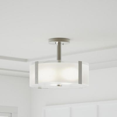 Bourland 14 in. 3-Light Polished Chrome Semi-Flush Mount with Glass Drum Shade