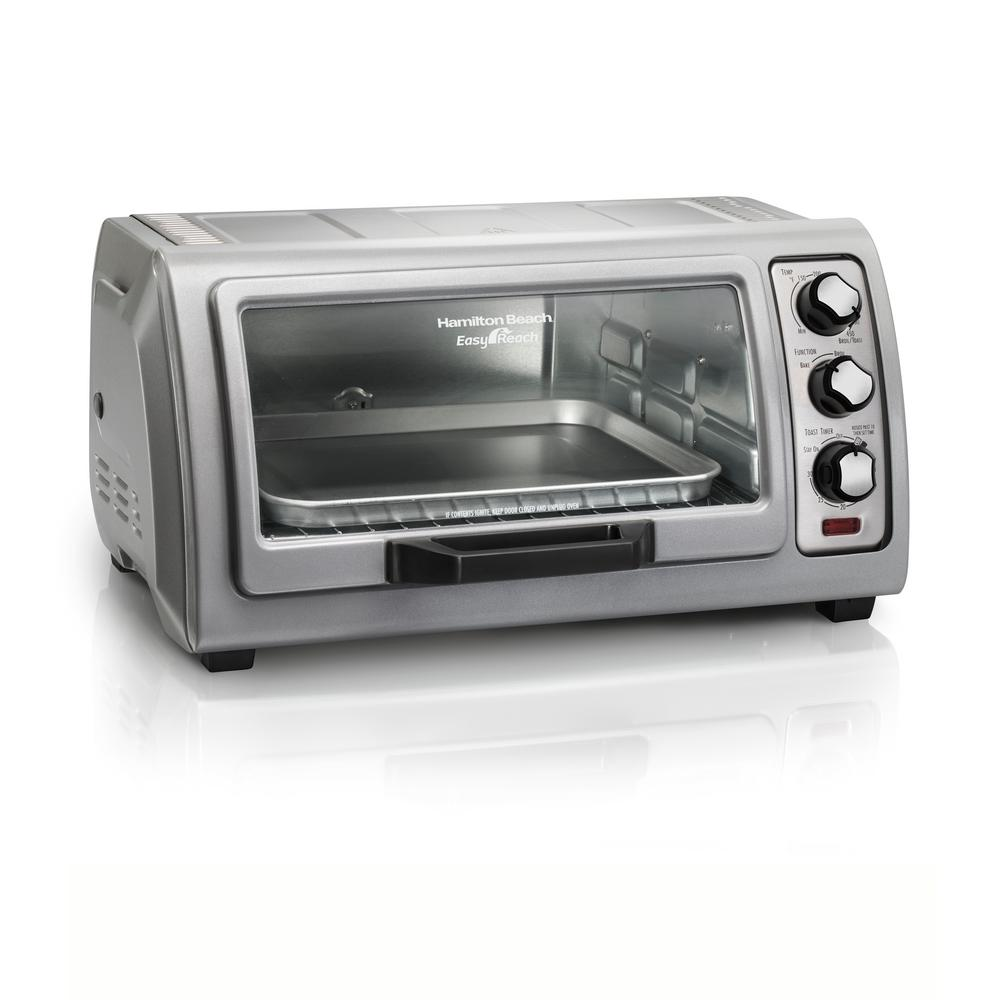 Hamilton Beach Easy Reach 1400 W 6-Slice Grey Toaster Oven with Roll Top Door, Silver -  31127D