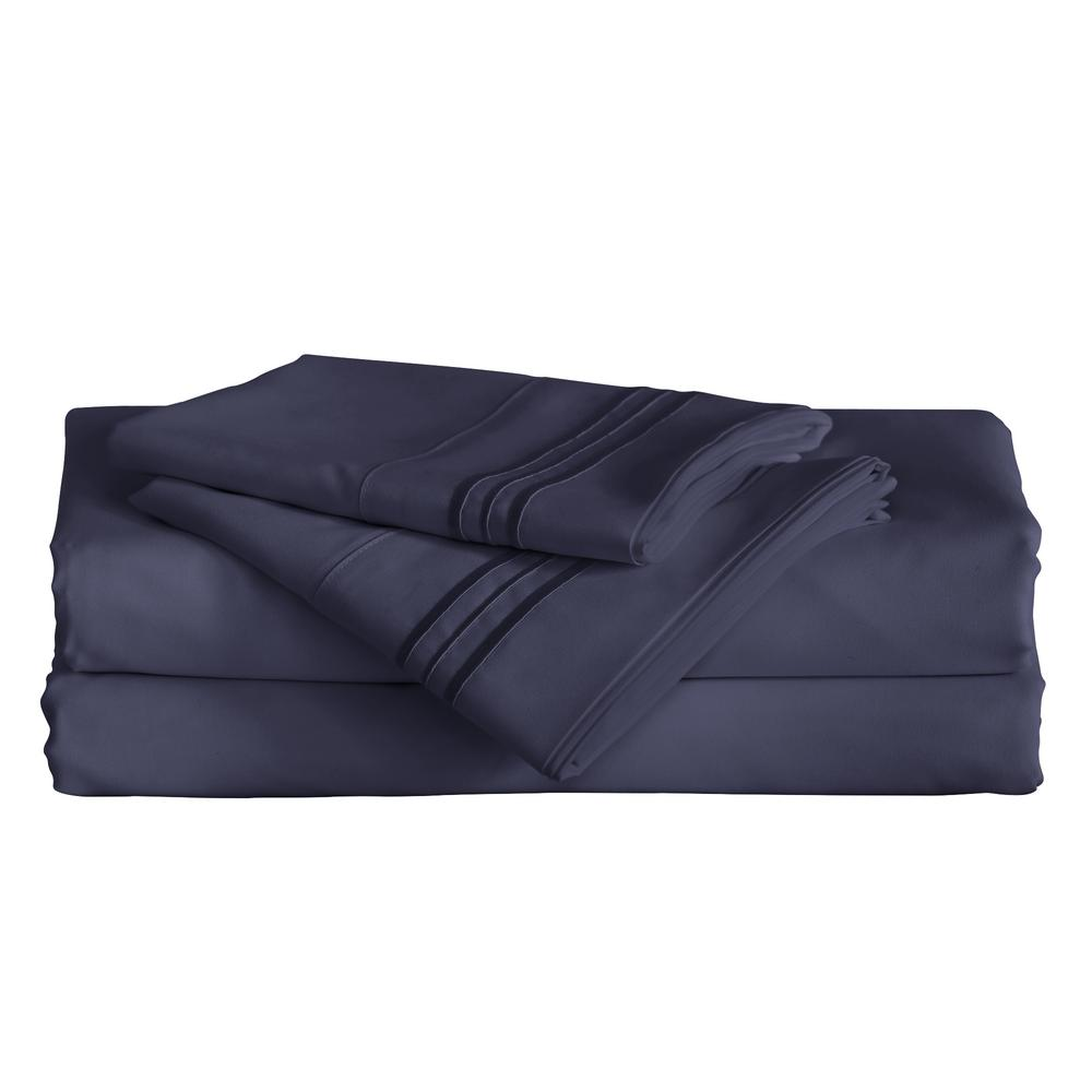 Angeland Vienne 3-Piece Navy Blue Microfiber Twin Sheet Set