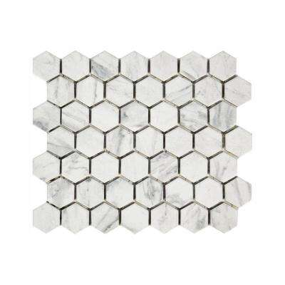 Carrara 10 in. x 12 in. x 6.35 mm Ceramic Mosaic Floor and Wall Tile (0.81 sq. ft./piece)
