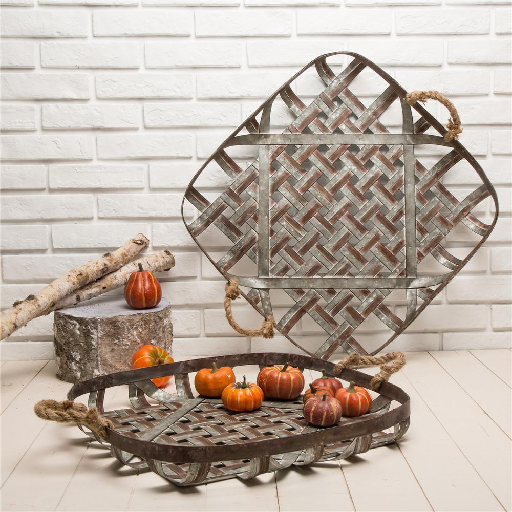 Farmhouse Galvanized Metal Woven Tobacco Basket Tray (Set of 2)