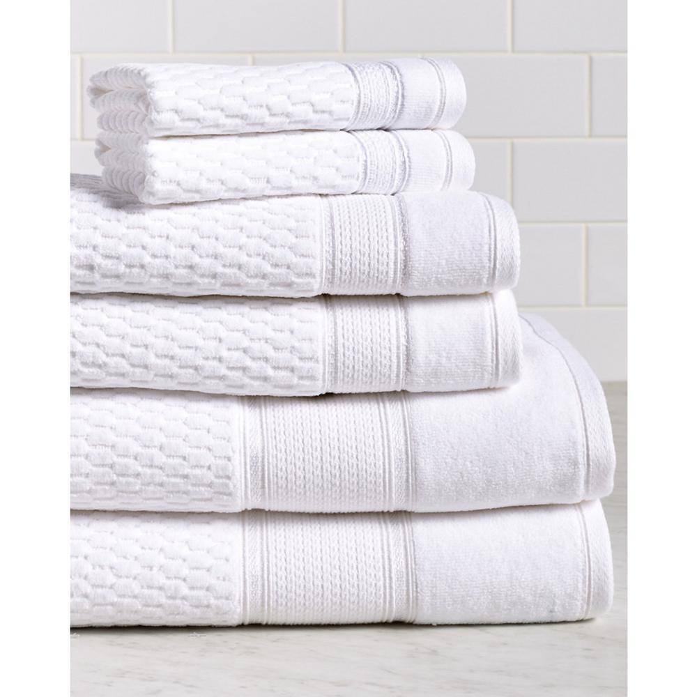 white bath towel. Espalma Royale 6-Piece 100% Turkish Cotton Bath Towel Set In White