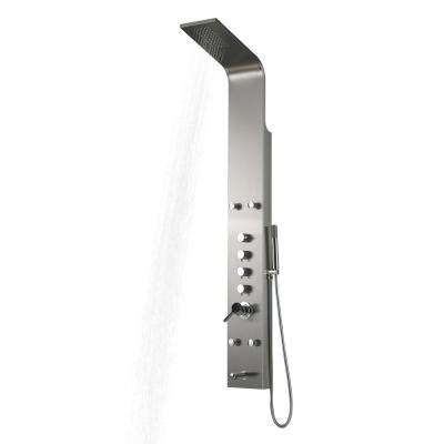 63 in. x 8 in. 4-Jet Shower Panel in Matte Chrome Stainless Steel