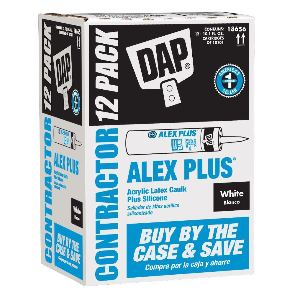 Alex Plus 10 1 oz  White Acrylic Latex Caulk Plus Silicone (12-Pack)