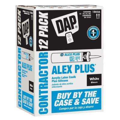 Alex Plus 10.1 oz. White Acrylic Latex Caulk Plus Silicone (12-Pack)