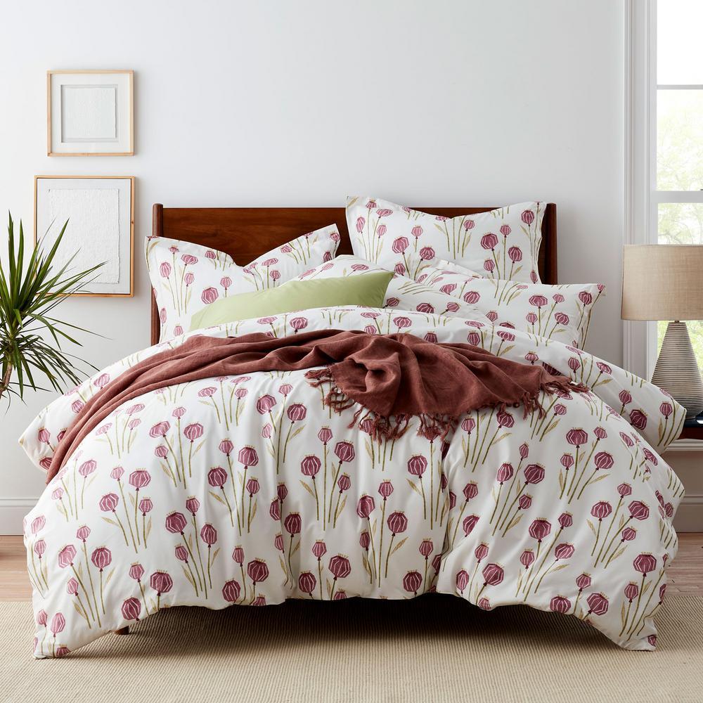 Lantern Floral Cotton Percale Duvet Cover
