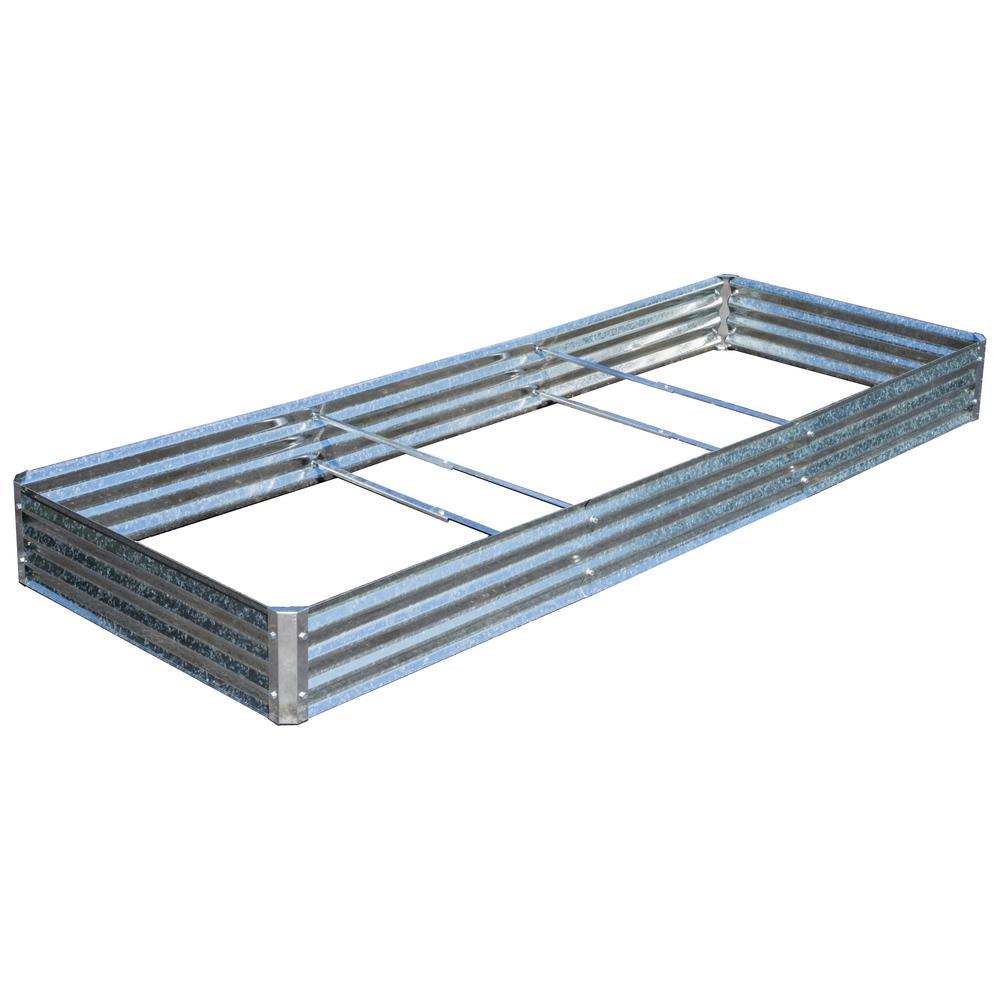 Bajo Series 40 in. x 112 in. x 10 in. Galvanized Metal Raised Garden Mega-Bed Bundle