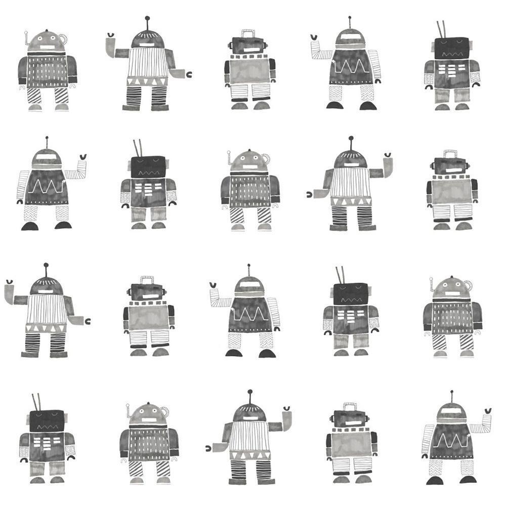 Lilliput Black Vintage Toy Robots Wallpaper