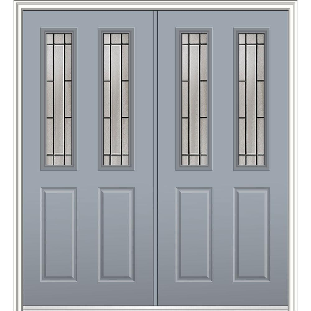 Mmi Door 72 In X 80 In Solstice Glass Right Hand 2 1 2 Lite 2 Panel Classic Painted Fiberglass