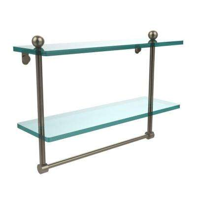 16 in. L  x 12 in. H  x 5 in. W 2-Tier Clear Glass Bathroom Shelf with Towel Bar in Antique Pewter