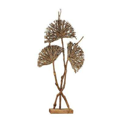 Pensacola 71 in. Wooden Botanical Fan Decorative Sculpture in Natural Wood