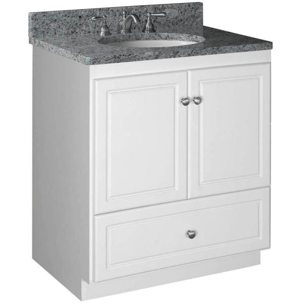 Ultraline 30 in. W x 21 in. D x 34.5 in. H Vanity with No Side Drawers Cabinet Only in Satin White