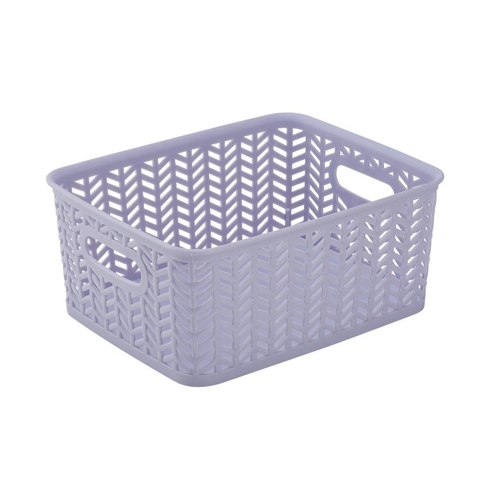 Lilac Herringbone Small Storage Tote