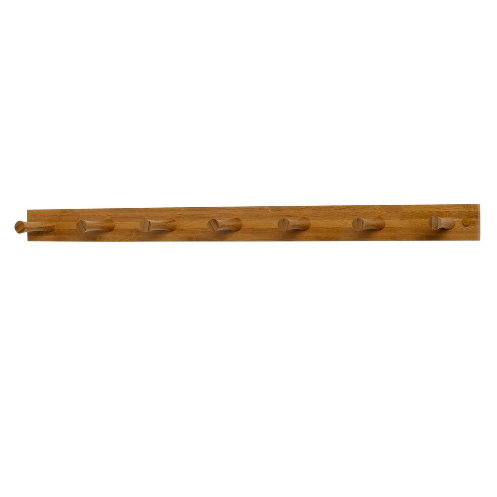 Spectrum 24 in. L Decorative Bamboo 7-Peg Wall Mount Wood Rack