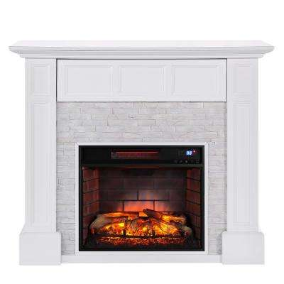 Elaine 48 in. Faux Stone Media Infrared Electric Fireplace in White