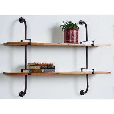 Brown 2-Tier Rectangular Wall Shelf