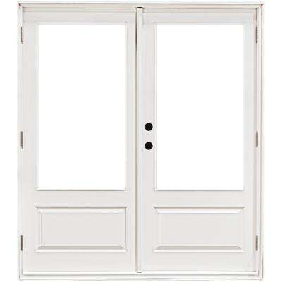 60 in. x 80 in. Fiberglass Smooth White Right-Hand Outswing Hinged 3/4 Lite Patio Door