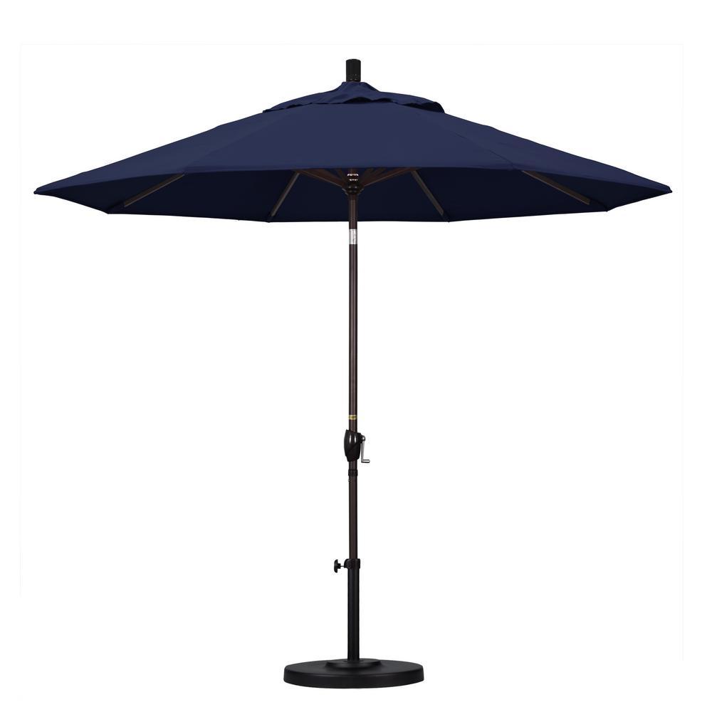 9 ft. Aluminum Push Tilt Patio Umbrella in Navy Blue Olefin