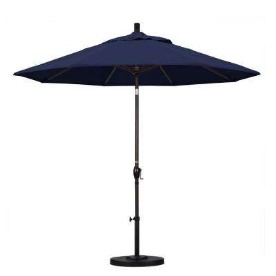 9 ft. Aluminum Push Tilt Patio Umbrella in Navy Blue Olefin