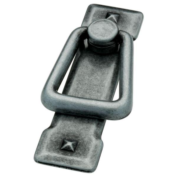 Mission Style 2-1/4 in. (57mm) Antique Pewter Ring Drawer Pull with Backplate