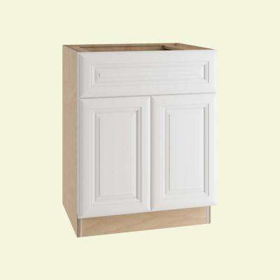 Brookfield Assembled 30x34.5x24 in. Double Door Base Kitchen Cabinet, Drawer and 2 Rollout Trays in Pacific White