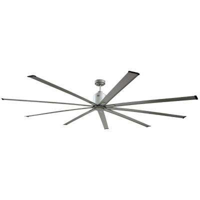 96 in. Indoor Metallic Satin Nickel Industrial Ceiling Fan with Remote Control