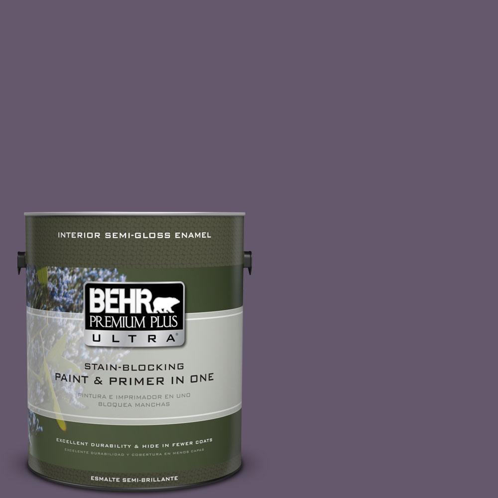 BEHR Premium Plus Ultra 1-gal. #PPU17-4 Darkest Grape Semi-Gloss Enamel Interior Paint