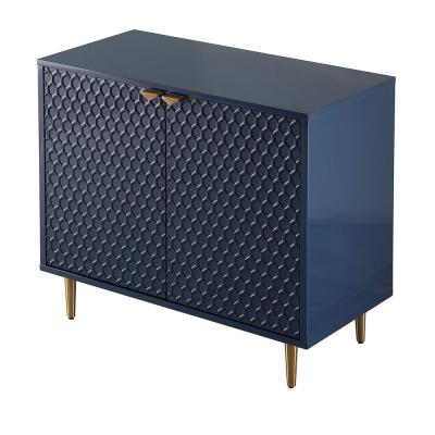31.5-in Height Blue MDF High Gloss Accent Cabinet Storage Nightstands with Golden Stand and 2-Shutter Doors