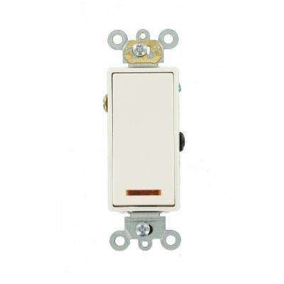 20 Amp Decora Plus Commercial Grade 3-Way Lighted Rocker Switch with Pilot Light, White
