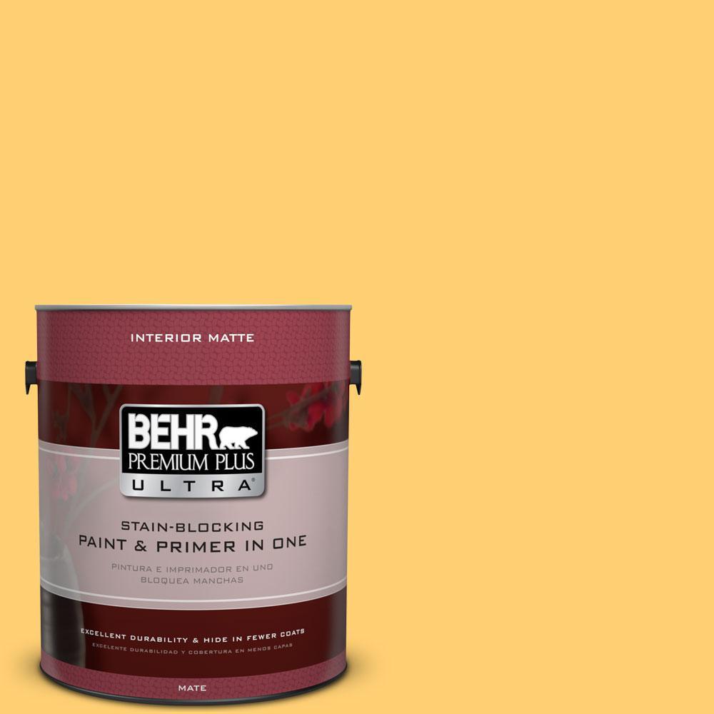 1 gal. #320B-6 Mellow Yellow Flat/Matte Interior Paint