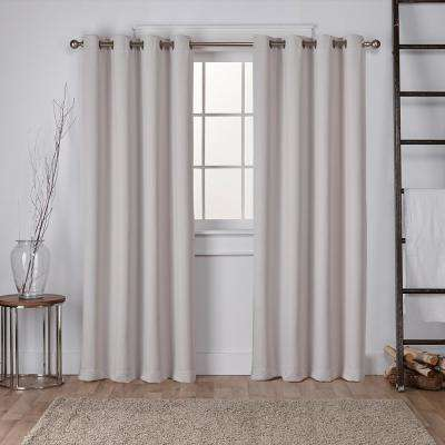 Sateen 52 in. W x 96 in. L Woven Blackout Grommet Top Curtain Panel in Silver (2 Panels)