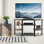 JAYA 42 in. French Oak Gray and Black Wood TV Stand Fits TVs Up to 44 in. with Open Storage