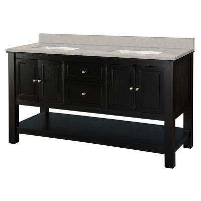 Gazette 61 in. W x 22 in. D Vanity Cabinet in Espresso with Engineered Marble Vanity Top in Dunescape with White Sink