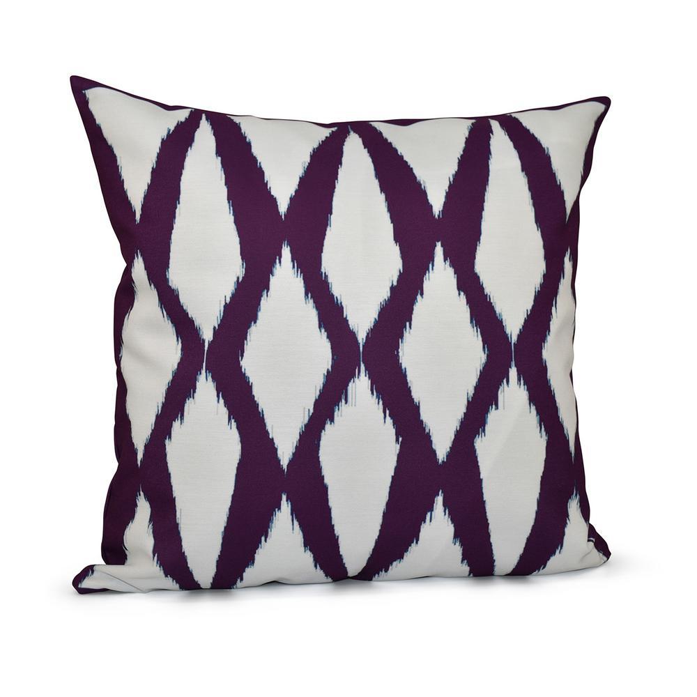 16 in. x 16 in. Diamonds Geometric Print Pillow in Purple