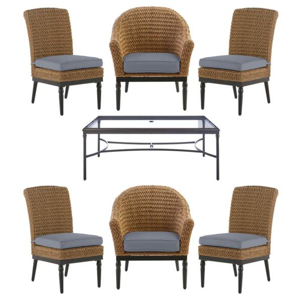 Camden 7-Piece Seagrass Light Brown Wicker Outdoor Patio Dining Set with CushionGuard Steel Blue Cushions
