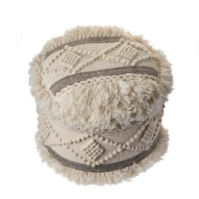 Scandinavian Tufted Off-White  Gray Shaggy Lodge Pouf