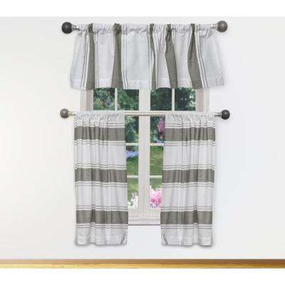 Namia Kitchen Valance in White-Grey - 15 in. W x 58 in. L (3-Piece)