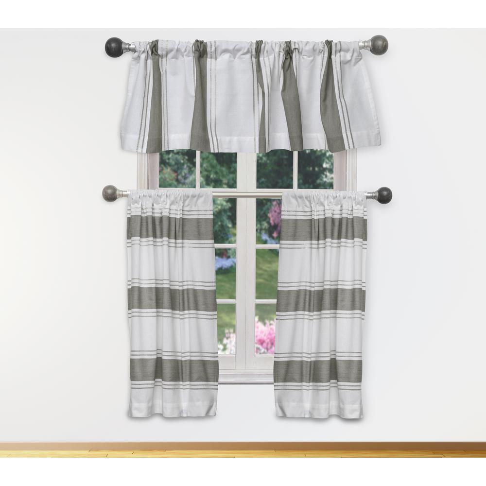 Namia Kitchen Valance in White-Grey - 15 in. W x 58 in. L (3-Piece)