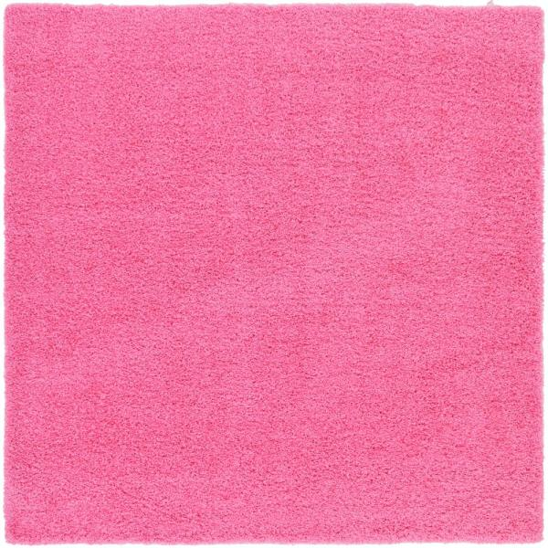 Solid Shag Taffy Pink 8 ft. Square Area Rug