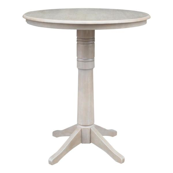 International Concepts Olivia 36 in. Round Weathered Taupe Gray Solid Wood Bar Table