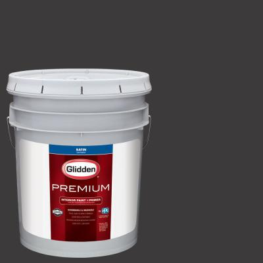 Glidden Premium 5 gal. #NHL-008C Colorado Avalanche Black Satin Interior Paint with Primer